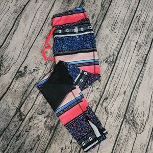 Roxy Blue Pink Full Length Mesh Cutout Leggings
